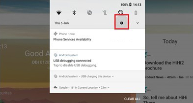 HiHi2 Screenshot: Notification Drawer shown, indicating settings icon
